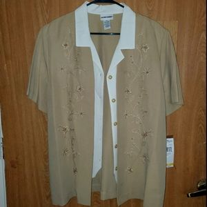 2# Alfred Dunner Tan and White Button Down S